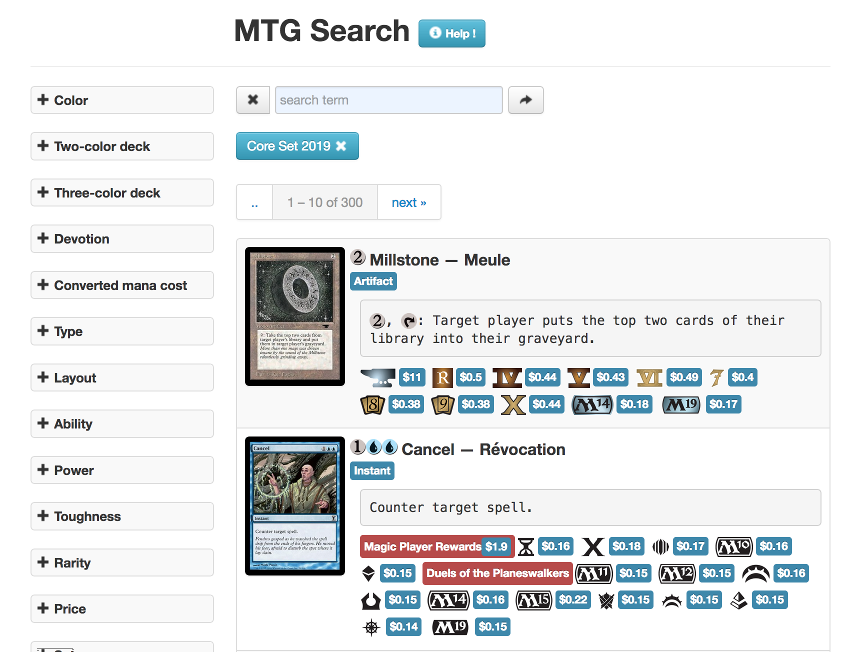 MTG search website